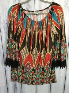 Lilypad Tunic Size Medium Shirt Boho Crochet Cuffs